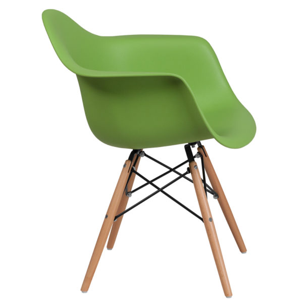 Lowest Price Alonza Series Green Plastic Chair with Wooden Legs