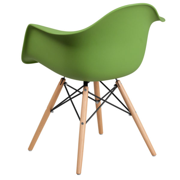 Accent Side Chair Green Plastic/Wood Chair