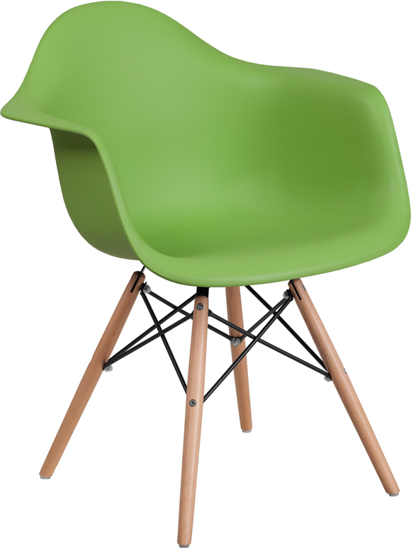 Wholesale Alonza Series Green Plastic Chair with Wooden Legs