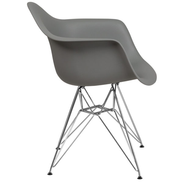 Lowest Price Alonza Series Moss Gray Plastic Chair with Chrome Base
