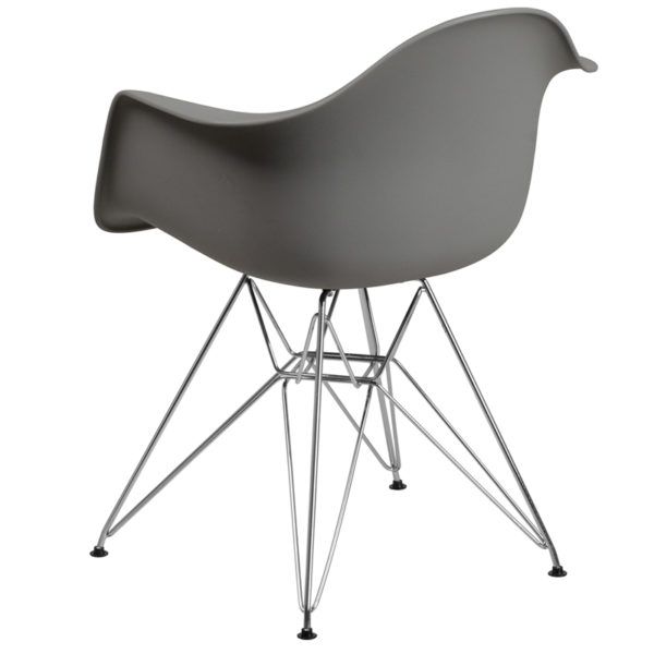 Accent Side Chair Gray Plastic/Chrome Chair