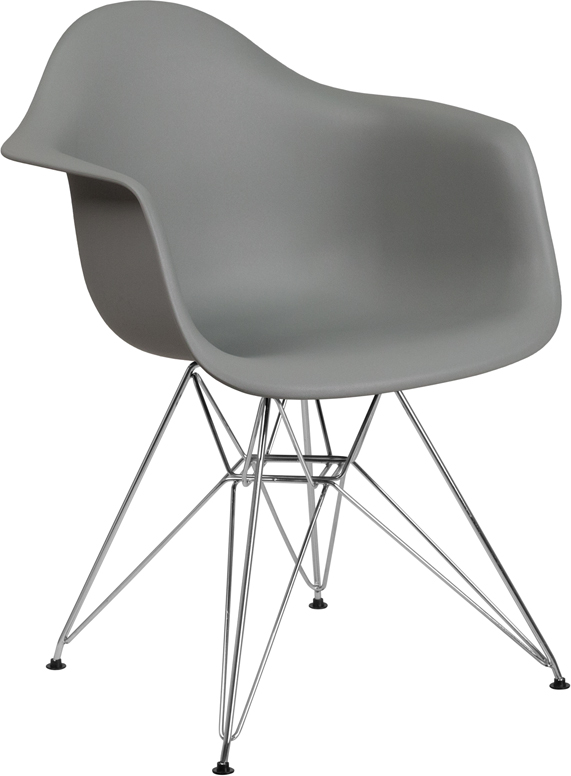 Wholesale Alonza Series Moss Gray Plastic Chair with Chrome Base
