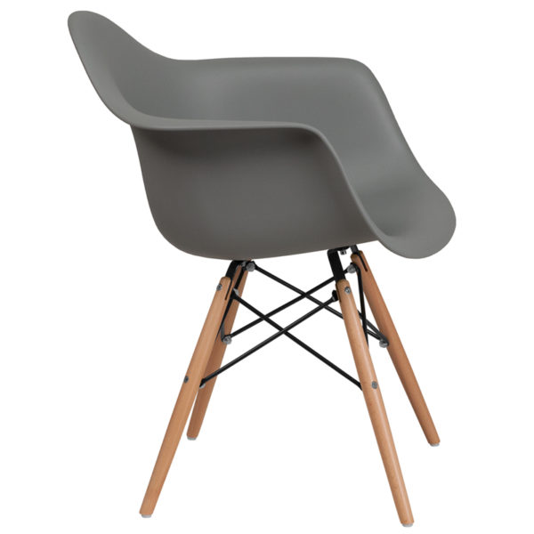 Lowest Price Alonza Series Moss Gray Plastic Chair with Wooden Legs