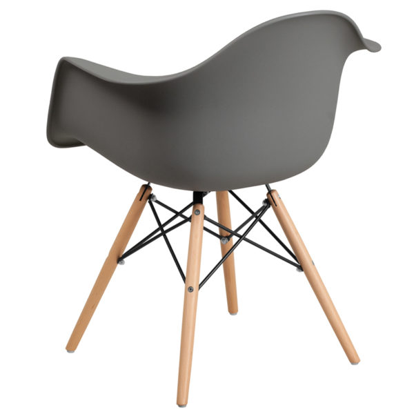 Accent Side Chair Gray Plastic/Wood Chair