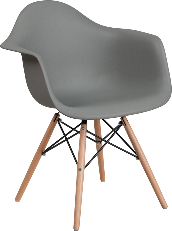 Wholesale Alonza Series Moss Gray Plastic Chair with Wooden Legs