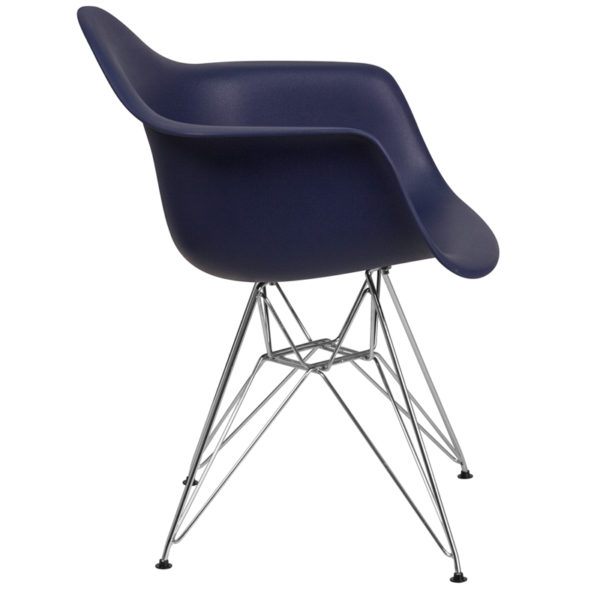 Lowest Price Alonza Series Navy Plastic Chair with Chrome Base