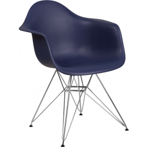 Wholesale Alonza Series Navy Plastic Chair with Chrome Base