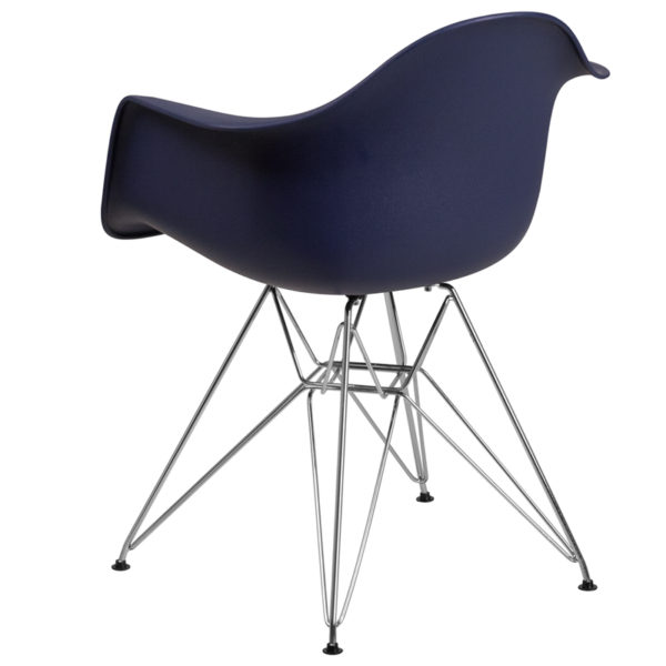 Accent Side Chair Navy Plastic/Chrome Chair