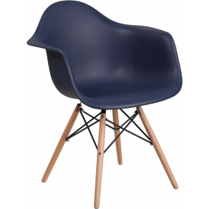 Wholesale Alonza Series Navy Plastic Chair with Wooden Legs