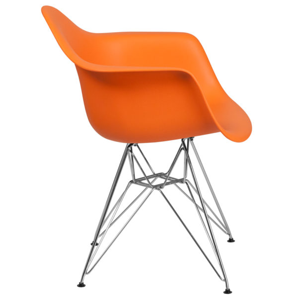 Lowest Price Alonza Series Orange Plastic Chair with Chrome Base