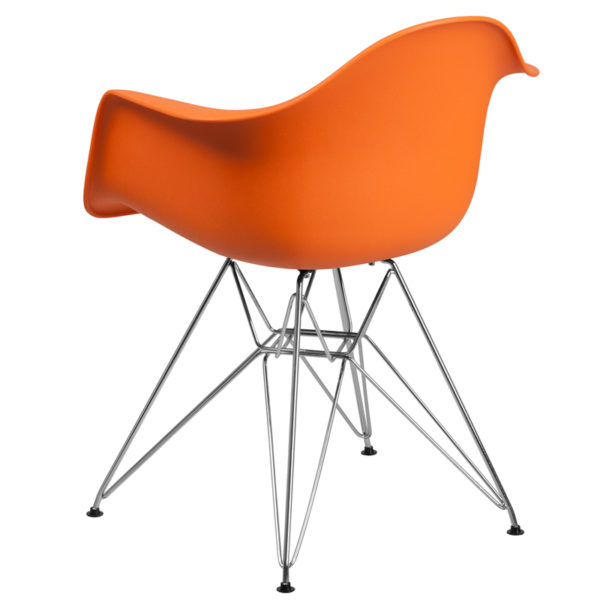 Accent Side Chair Orange Plastic/Chrome Chair