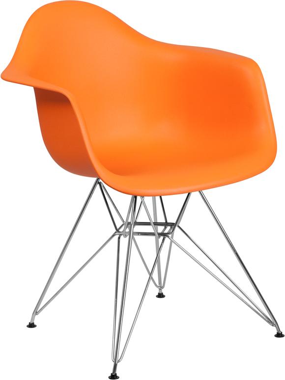 Wholesale Alonza Series Orange Plastic Chair with Chrome Base
