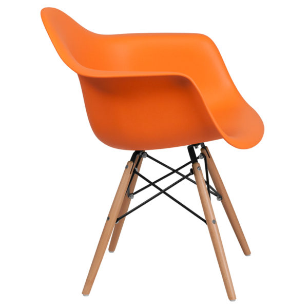 Lowest Price Alonza Series Orange Plastic Chair with Wooden Legs
