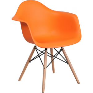 Wholesale Alonza Series Orange Plastic Chair with Wooden Legs
