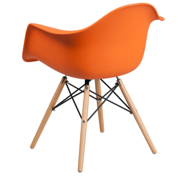 Accent Side Chair Orange Plastic/Wood Chair
