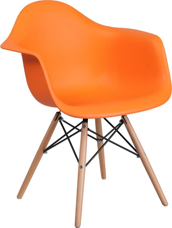 Wholesale Alonza Series Orange Plastic Chair with Wooden Legs