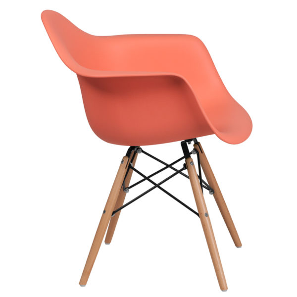 Lowest Price Alonza Series Peach Plastic Chair with Wooden Legs