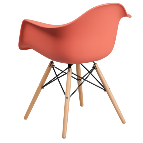 Accent Side Chair Peach Plastic/Wood Chair