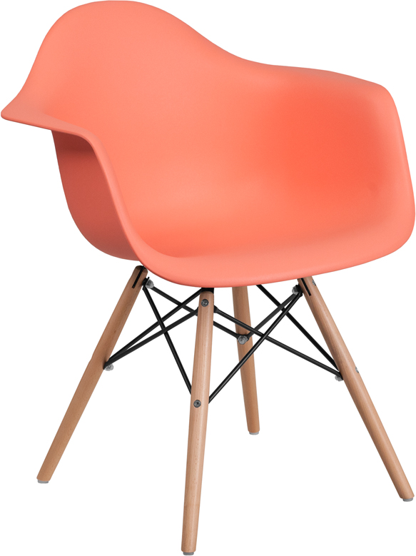 Wholesale Alonza Series Peach Plastic Chair with Wooden Legs