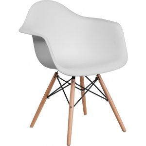 Wholesale Alonza Series White Plastic Chair with Wooden Legs