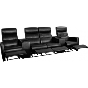 Wholesale Anetos Series 4-Seat Reclining Black Leather Theater Seating Unit with Cup Holders