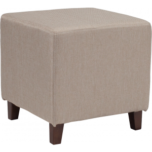 Wholesale Ascalon Upholstered Ottoman Pouf in Beige Fabric