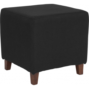 Wholesale Ascalon Upholstered Ottoman Pouf in Black Fabric