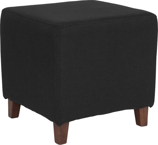 Wholesale Ascalon Upholstered Ottoman Pouf in Black Fabric