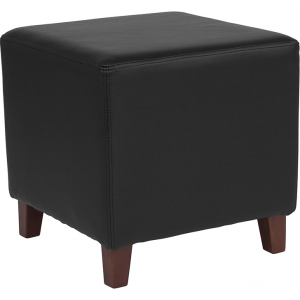 Wholesale Ascalon Upholstered Ottoman Pouf in Black Leather