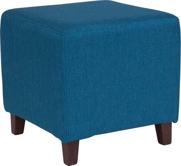 Wholesale Ascalon Upholstered Ottoman Pouf in Blue Fabric
