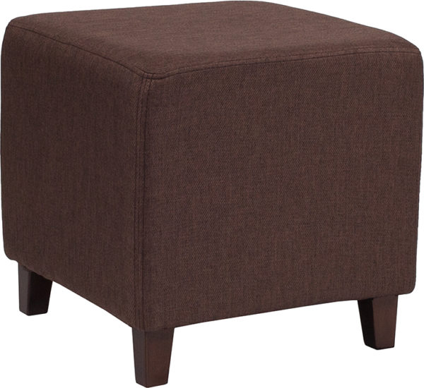 Wholesale Ascalon Upholstered Ottoman Pouf in Brown Fabric