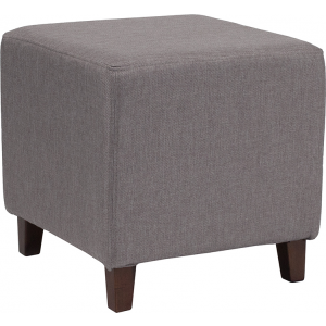 Wholesale Ascalon Upholstered Ottoman Pouf in Light Gray Fabric