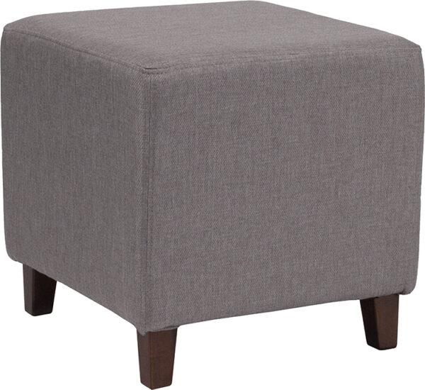 Wholesale Ascalon Upholstered Ottoman Pouf in Light Gray Fabric
