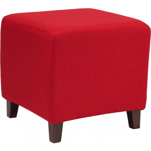 Wholesale Ascalon Upholstered Ottoman Pouf in Red Fabric