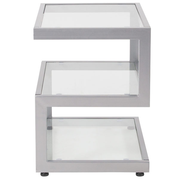 Lowest Price Ashmont Collection Glass End Table with Contemporary Steel Design