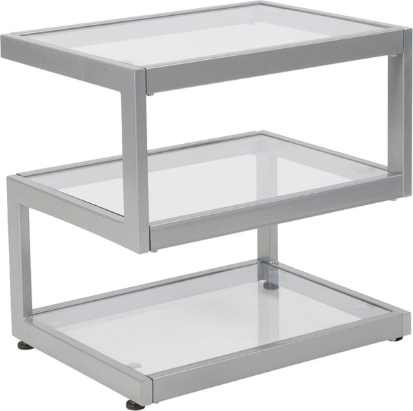Wholesale Ashmont Collection Glass End Table with Contemporary Steel Design