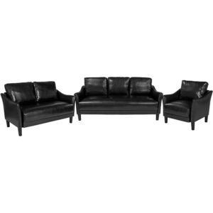 Wholesale Asti 3 Piece Upholstered Set in Black Leather