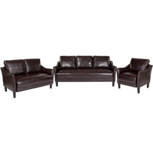 Wholesale Asti 3 Piece Upholstered Set in Brown Leather