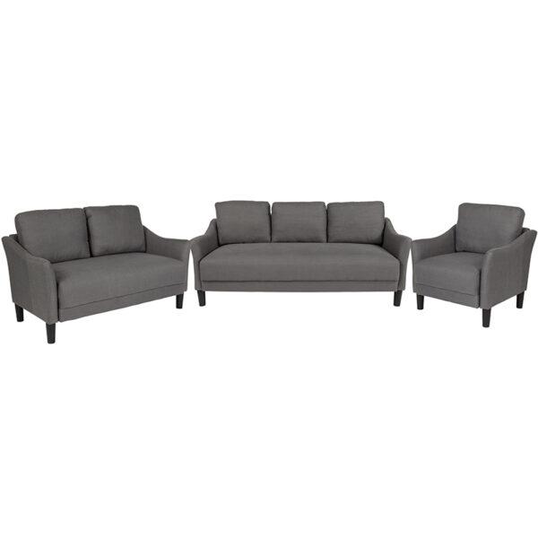 Wholesale Asti 3 Piece Upholstered Set in Dark Gray Fabric
