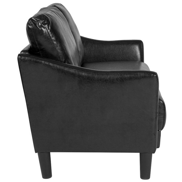 Lowest Price Asti Upholstered Loveseat in Black Leather