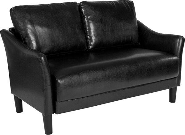 Wholesale Asti Upholstered Loveseat in Black Leather