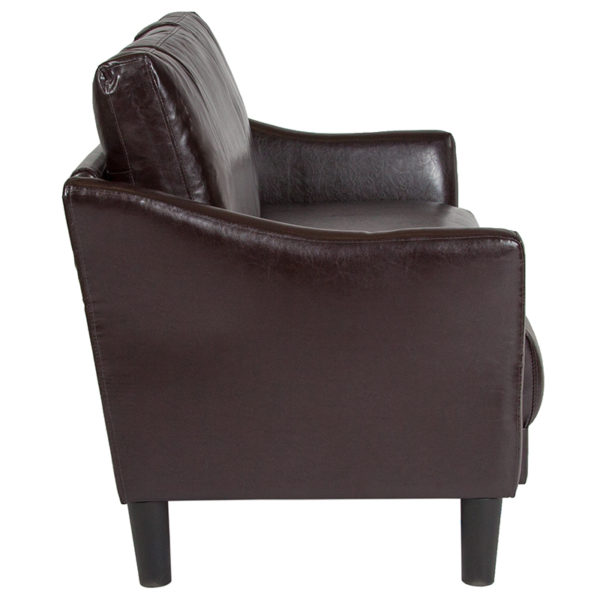 Lowest Price Asti Upholstered Loveseat in Brown Leather