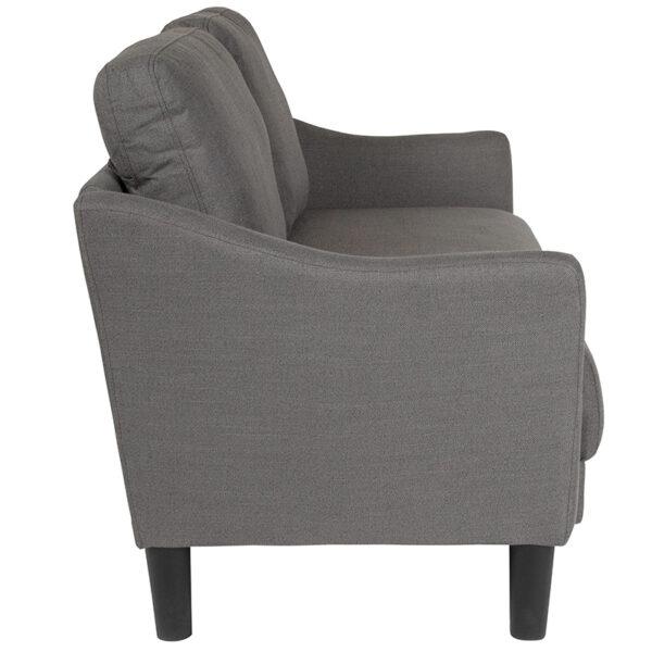 Lowest Price Asti Upholstered Loveseat in Dark Gray Fabric