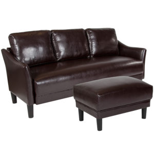 Wholesale Asti Upholstered Sofa and Ottoman in Brown Leather