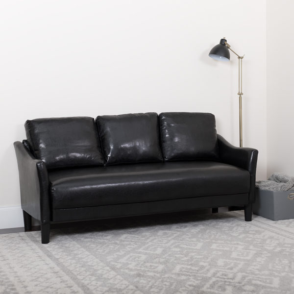 Lowest Price Asti Upholstered Sofa in Black Leather
