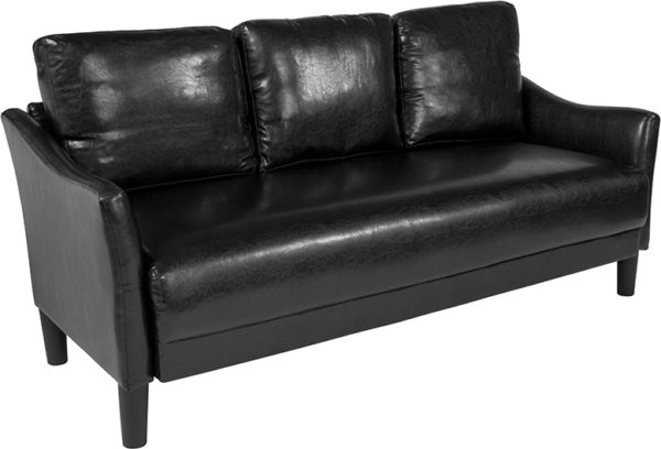 Wholesale Asti Upholstered Sofa in Black Leather