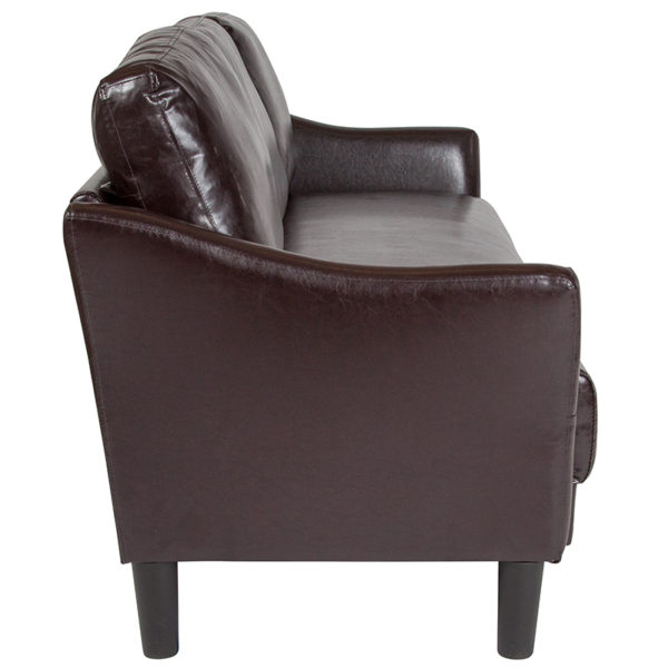 Lowest Price Asti Upholstered Sofa in Brown Leather