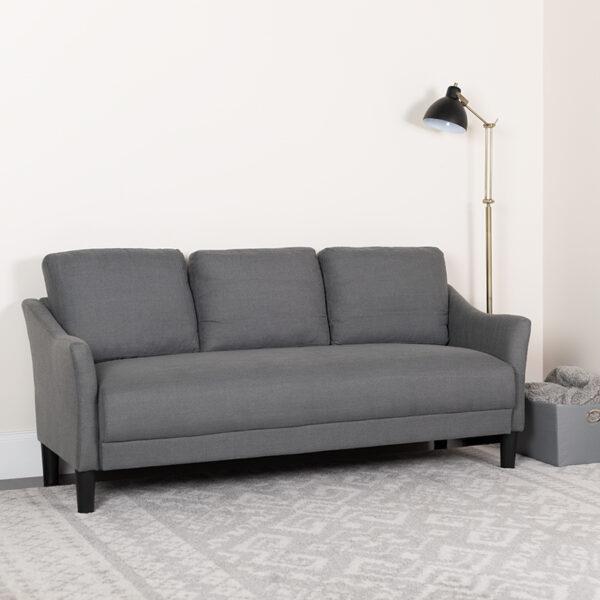 Lowest Price Asti Upholstered Sofa in Dark Gray Fabric