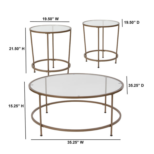 Lowest Price Astoria Collection 3 Piece Coffee and End Table Set with Glass Tops and Matte Gold Frames