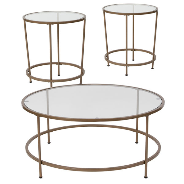 Wholesale Astoria Collection 3 Piece Coffee and End Table Set with Glass Tops and Matte Gold Frames